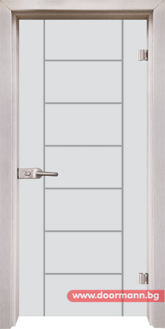 Стъклена врата модел Gravur 13-6 - Перла