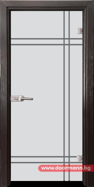 Стъклена врата модел Gravur 13-8 - Венге
